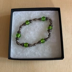 Silver and green beaded bracelet handmade